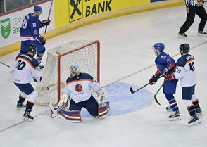 Colin Shields scores GB's opening goal. Picture: Dean Woolley